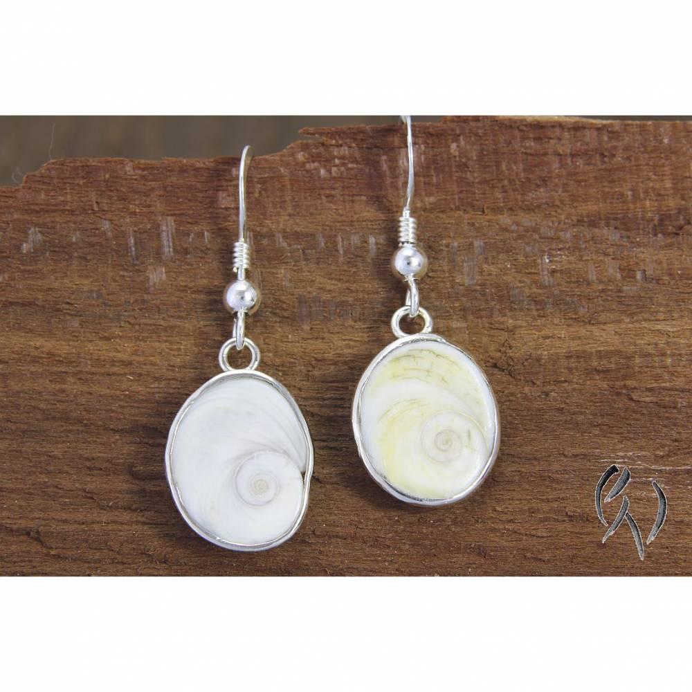 Kleine Ohrhänger aus Silber 925/-, Schnecken, Meeresaugen Bild 1