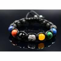 Herren Buddha Armband aus Edelsteinen Koralle Achat Lapis Lazuli Lava und Malachit mit Knotenverschluss, Makramee Armband, 10 mm Bild 1