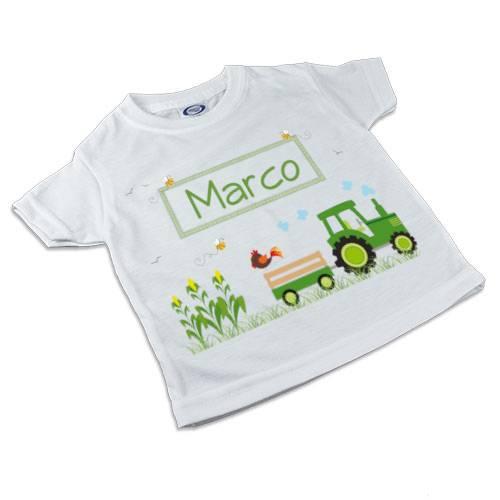 T-Shirt, Kinder T-Shirt mit Namen, Jungen, Motiv Traktor grün Bild 1