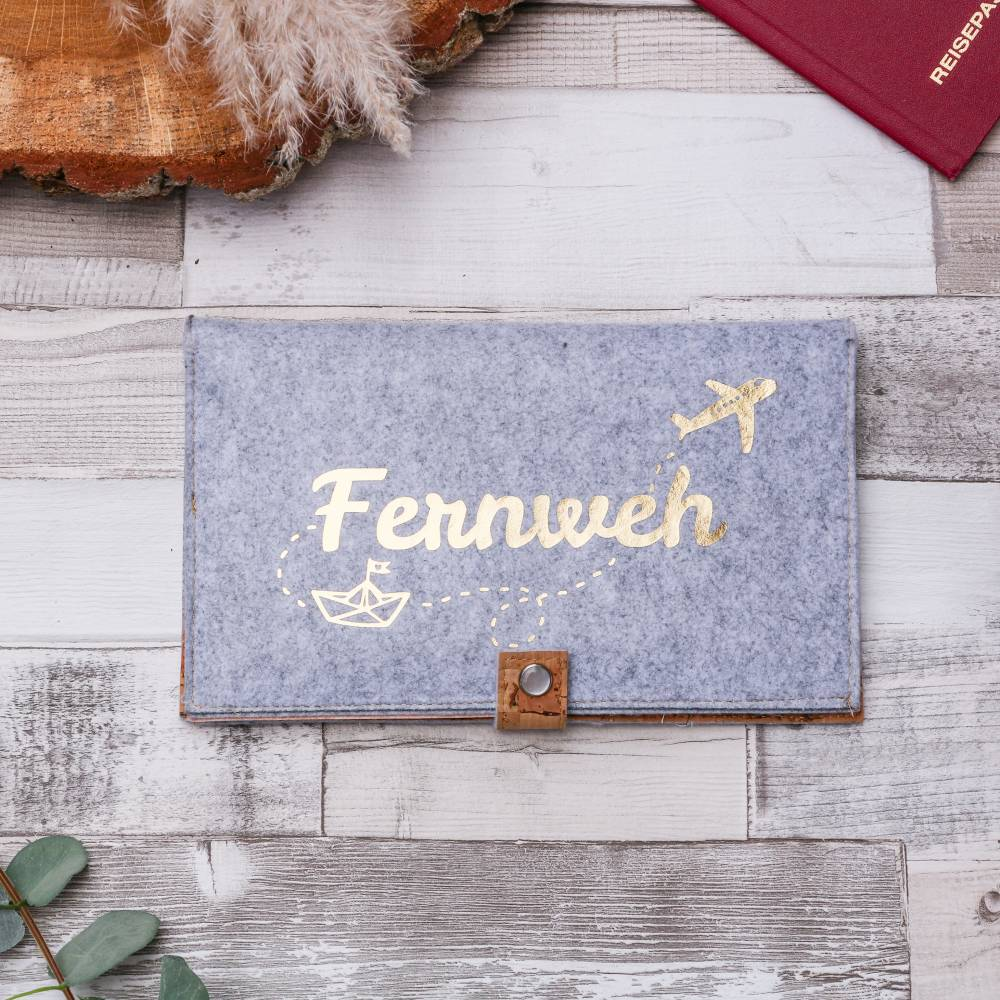 "Reise-Etui ""Fernweh"" aus Filz, individualisierbar Bild 1"