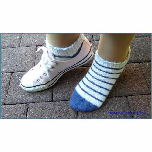 Sneaker Socken, handgestrickt, blau, Weiß, Baumwolle