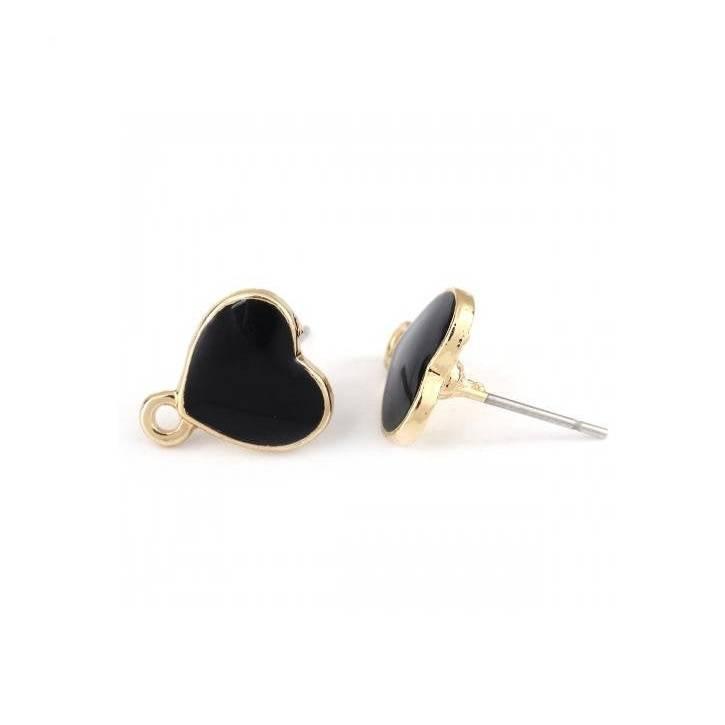 1 Paar Ohrringe Herz Vergoldet Schwarz  Emaille mit Öse 12mm x 11 mm Bild 1