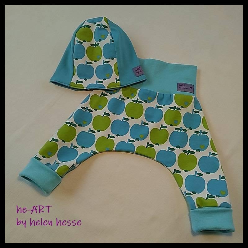 """2-teiliges Babyset """"Apfel"""" Doppelgröße 50/56, genäht aus Jersey in türkis-grün, von he-ART by helen hesse Bild 1"""