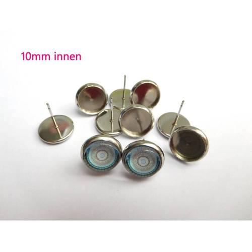 10 x Ohrstecker Edelstahl für 10mm Cabochon Ohrsteckerfassung Ohrsteckerrohling Ohrstecker silberfarben (OS12)