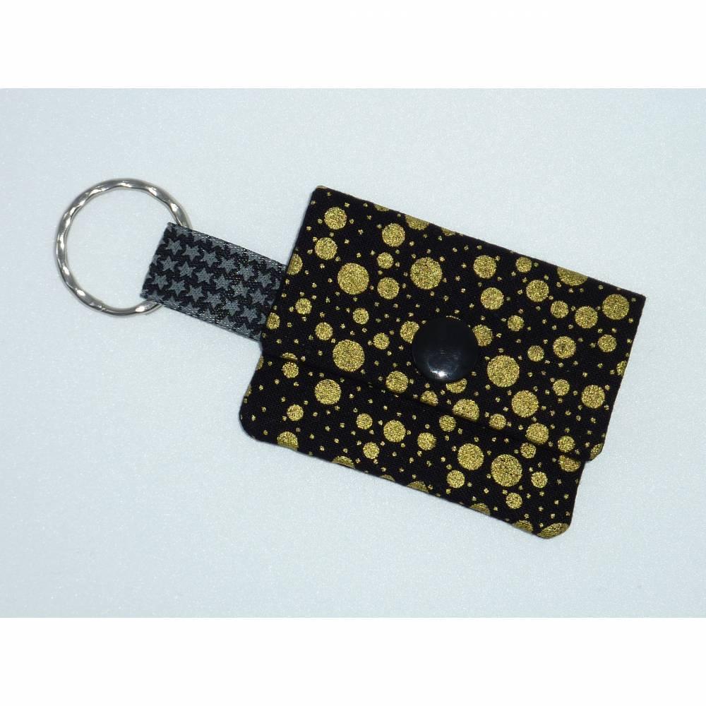 Geldbeutel klein schwarz gold Punkte Chiptäschchen Schlüsselanhänger Bild 1