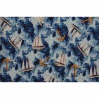 Jersey mit Segelbooten Anker maritim 50x 155 cm Nähen Digitaldruck Windjammer Bild 1