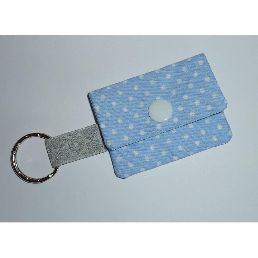 Geldbeutel Mini hellblau blau Punkte Schlüsselanhänger Bild 1