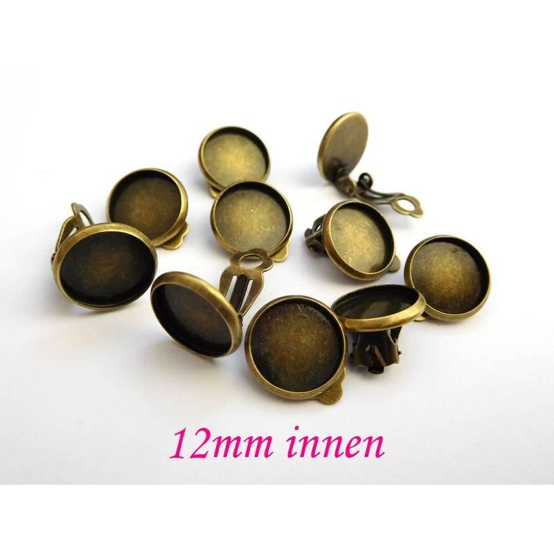 10 x Ohrclips Bronzefarben für 12mm Cabochon Clipse Ohrclipse Ohrring ohne Loch kein Ohrloch (CL11) Bild 1