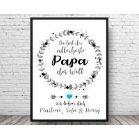 Kunstdruck Bester Papa - Geschenk zum Vatertag - Geburtstagsgeschenk Vater - Bild - Druck - Poster - Ehrenkranz Bild 1