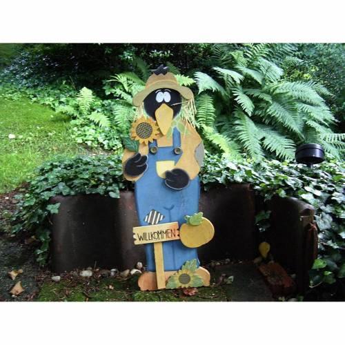 Vintage Gartenschild Willkommen Rabe Holz Türschild