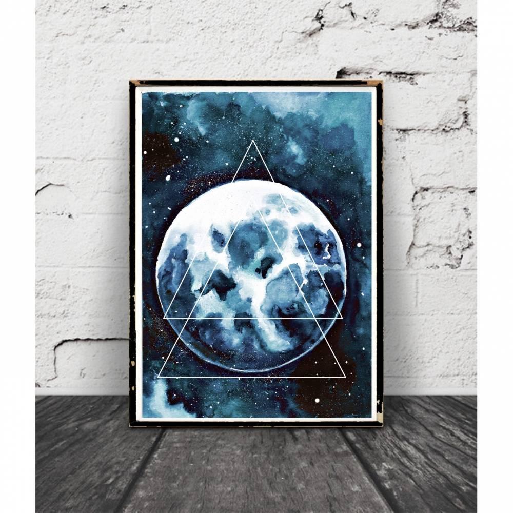 Mondschein Poster, Aquarell, Bild, Print Geometrisch, Abstrakt, Galaxy, Weltraum, Mondphase, Gemälde Himmel Bild 1