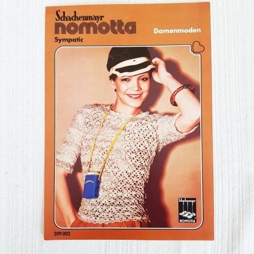 Vintage Häkelanleitung von Schachenmayr nomotta, gehäkelter Damenpulli, Top,40/42