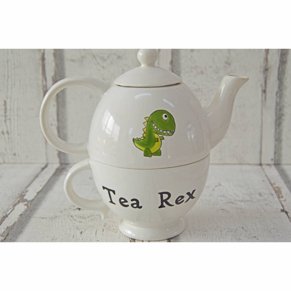 Tea for one Set, Kännchen mit Tasse, Keramik handbemalt, Tea Rex Bild 1