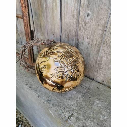 einzigartige Gartenkugel , teilweise in Gold glasiert, ca. 22 cm