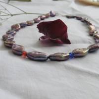 Perlenkette mit Rhomben schwarz-lila-bunt, Zuchtperlen 10 x 15 mm, Verschluß Sterling Silber, Geschenk für Frauen, Abendcollier Bild 1