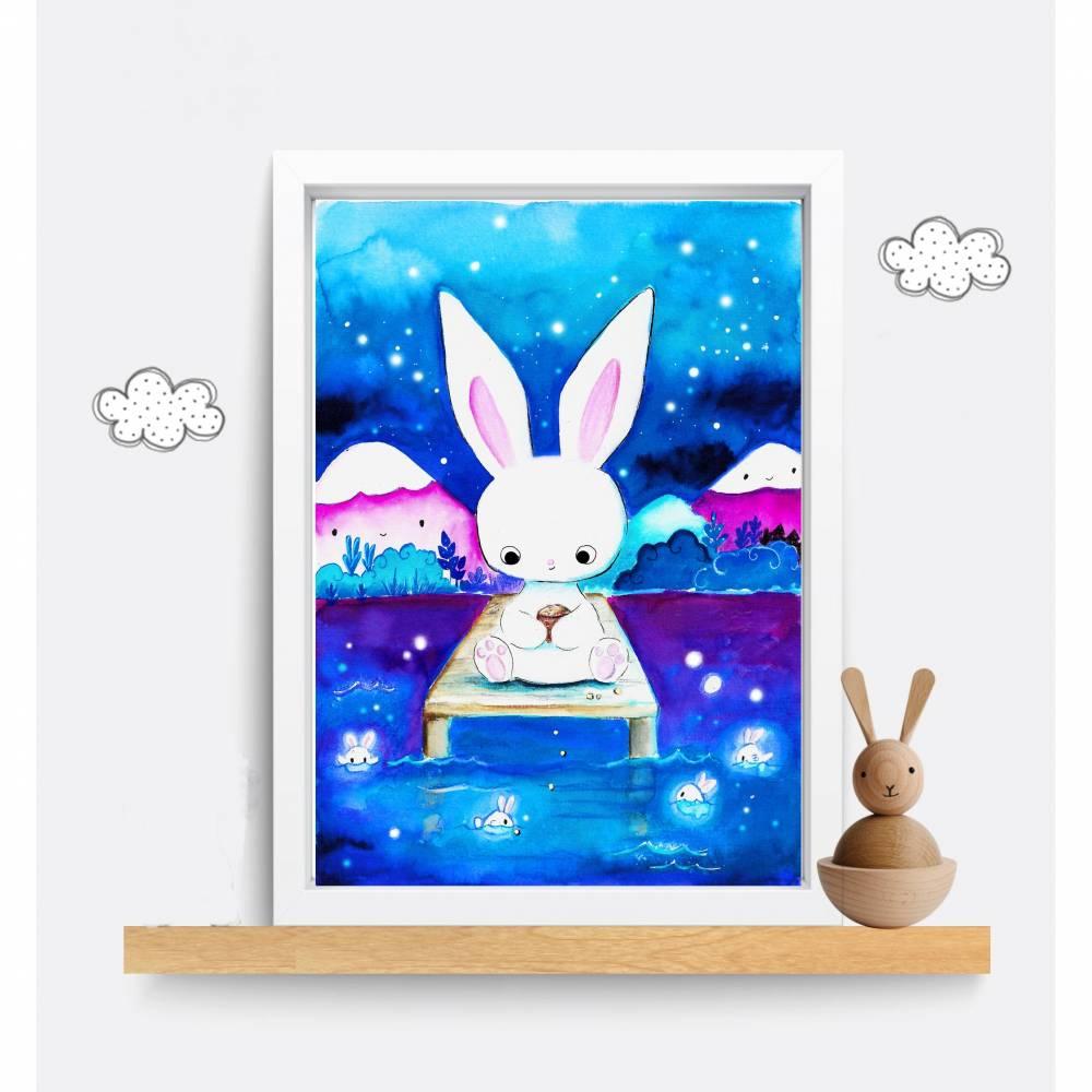 """Aquarell Hasen Poster, Häschen Print, """"Mondhasenfische"""" , Kaninchen, Sternenhimmel, kawaii Hase, Kinderzimmer Bild Bild 1"""