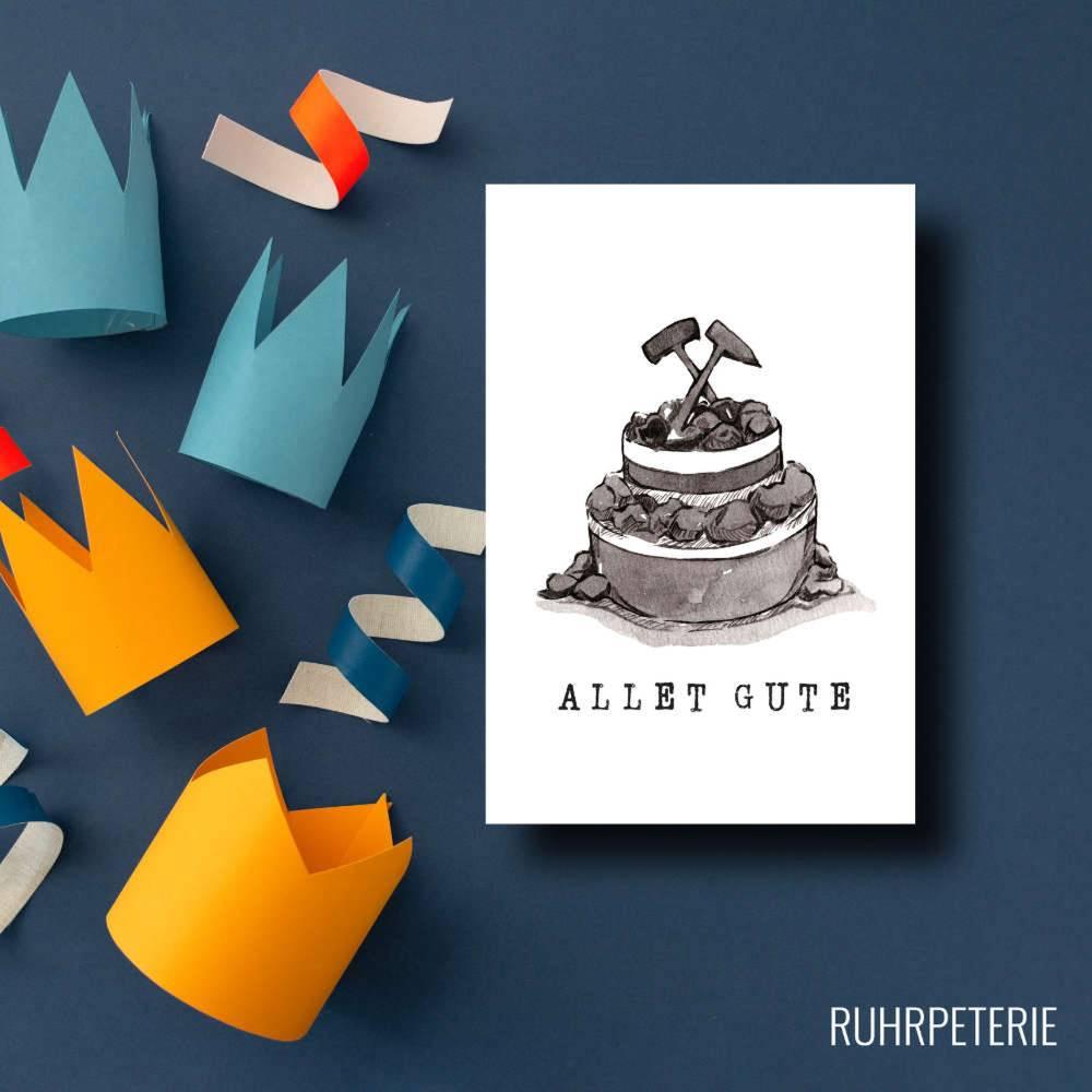Geburtstagskarte Torte aus Kohle, Ruhrgebiet, Ruhrpott, A6 Klappkarte mit Umschlag, personalisierbar, eigener Name Bild 1