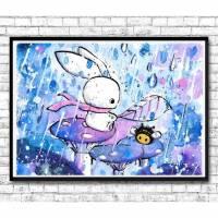 """Aquarell Kinderbild Hase Poster Print, """"Raindrops"""" Freunde, Bild für Kinderzimmer, Kunstdruck, Kinderposter, Kaninchen, Regen, Regentropfen Bild 1"""