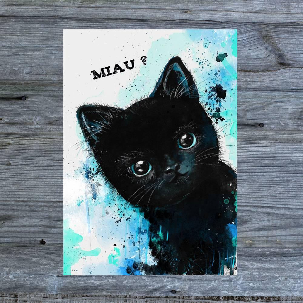 Katzen Postkarte - Miau- kawaii - Tiny black kitty - Grußkarte - Katzenkarte aquarell - Grußkarte Bild 1