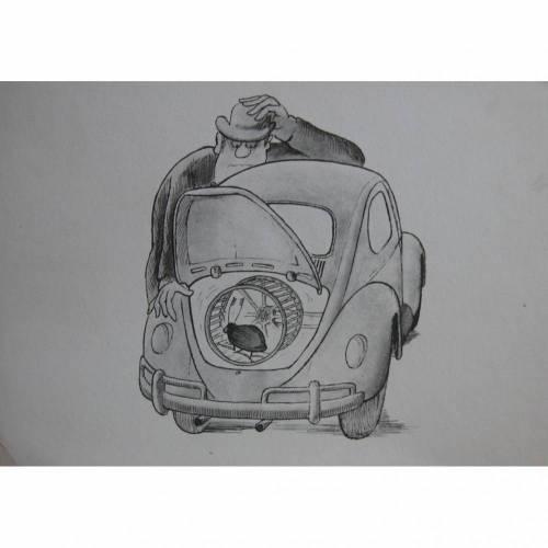 """Postkarte aus der Serie """" Spaß am VW """""""