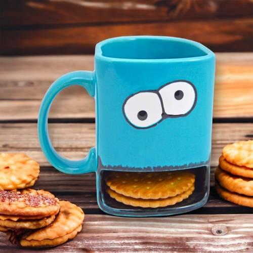 Cookie Tasse, Tasse mit Keksfach, 300ml, Keramik,türkis, personalisierbar