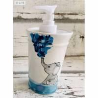 Seifenspender, Desinfektionsspender, Elefant, Keramik handbemalt Bild 1