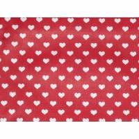 9,10 EUR/m Stoff - Baumwolle, Herzen weiß auf rot
