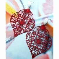 Ohrstecker 'rote Ornamente' Bild 1