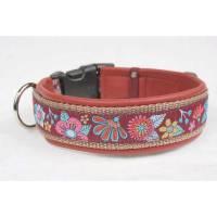 Hundehalsband »Mio« rot mit echtem Leder unterlegt aus der Halsbandmanufaktur von dogs & paw Bild 1