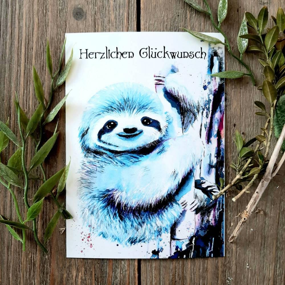 Faultier Postkarte, Herzlichen  Glückwunsch, Grußkarte,  Aquarell Geburtstagskarte Bild 1