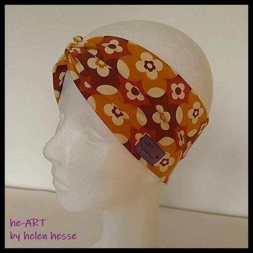 """Stirnband mit Raffung """"Blumen"""" - Größe M / KU 56 - in braun-senf aus Jerseystoff genäht, von he-ART by helen hesse"""
