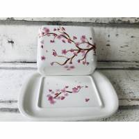 Butterdose, Kirschblüte, Keramik handbemalt Bild 1