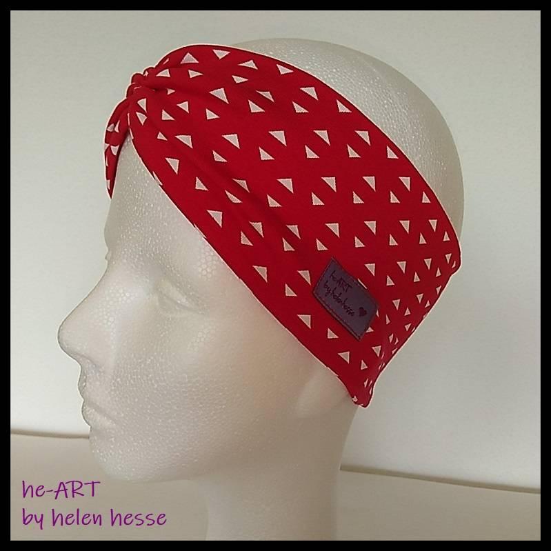 """Stirnband mit Raffung """"Eckchen"""" - Größe M / KU 56 - in rot-weiß aus Jerseystoff genäht, von he-ART by helen hesse Bild 1"""