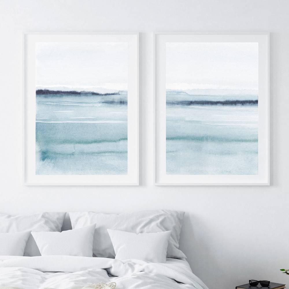 Set von zwei abstrakten Aquarell Kunstdrucken, Schlafzimmer Wandkunst Wohnzimmer Wandkunst Bild 1
