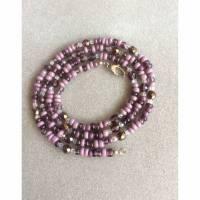 Lange Kette Perlenmix lila mauve mit Karabiner Bild 1