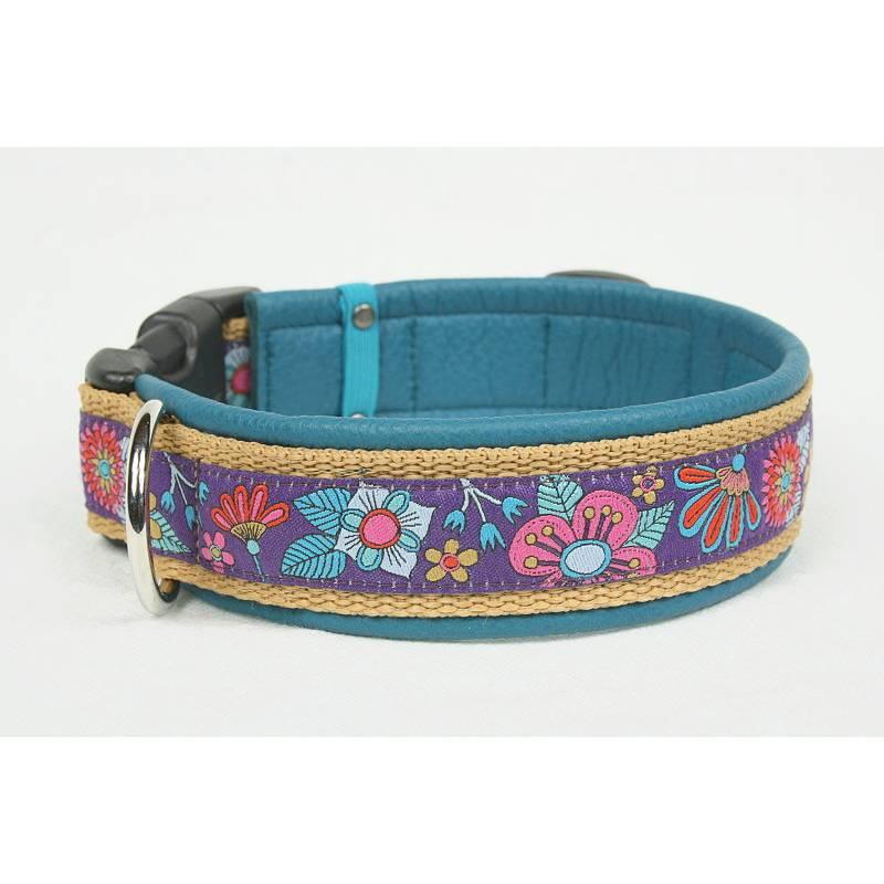 Hundehalsband »Mio« lila mit echtem Leder unterlegt aus der Halsbandmanufaktur von dogs & paw Bild 1