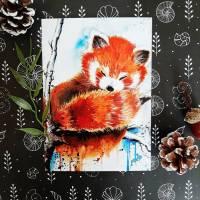 Roter Panda Postkarte in Aquarell, Katzenbär, Geburtstagskarte, Taufkarte, Geburt Bild 1