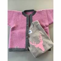 Trachtenjacke rosa, himbeerrot, Jacke, Kinderjacke, Landhausjacke, Strickjacke Bild 1