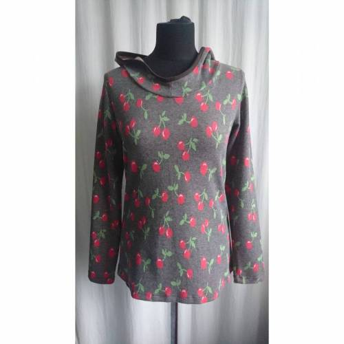 Damenshirt braun meliert mit Kirschen, Kapuze, Gr. 38