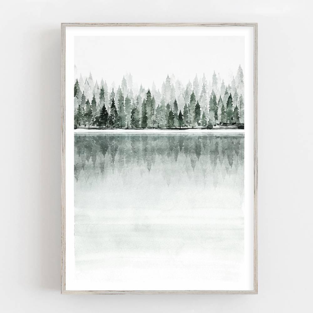 Aquarell See Wald Kunstdruck, nebliger Wald und See, skandynavische Wandkunst Bild 1