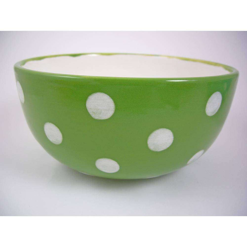 Müslischale - Schale grün/weisse Punkte, 700ml, Keramik handbemalt Bild 1