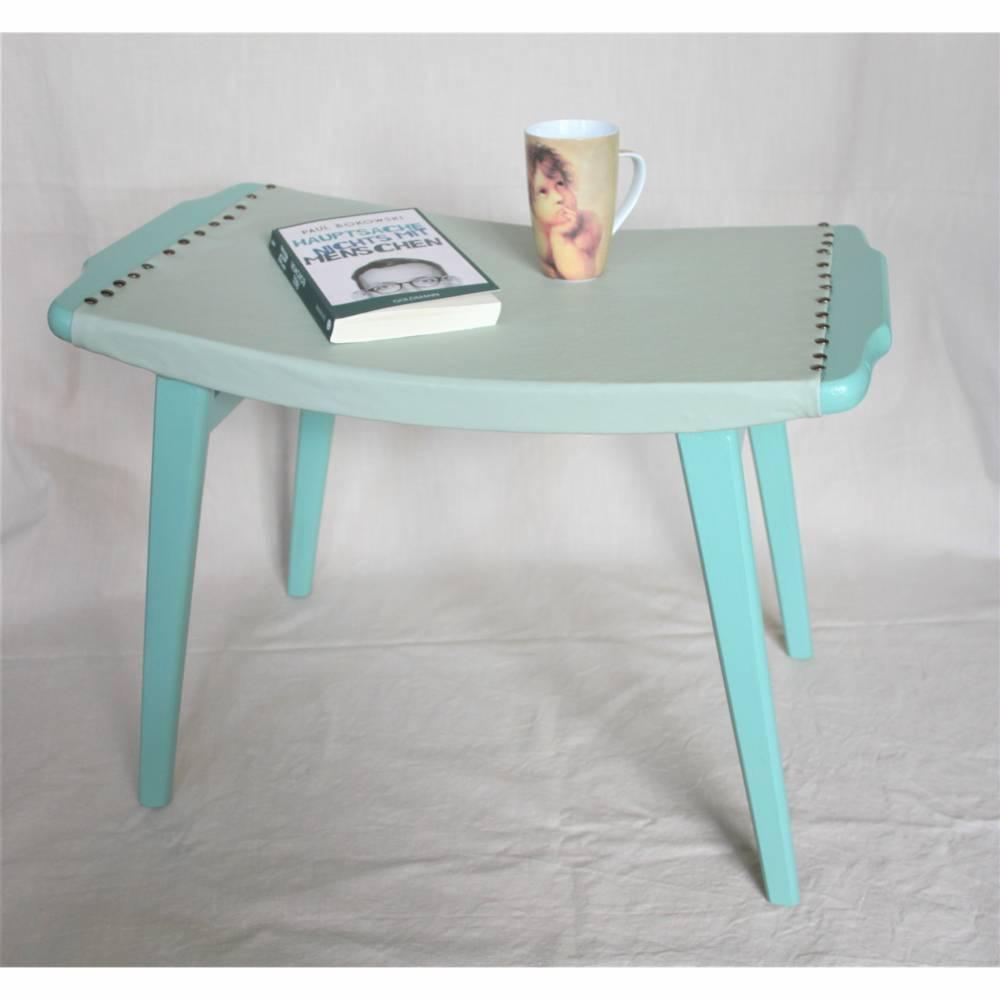 mintfarbiger Retro Hocker mit Kunstlederbezug Tisch Nachttisch Bild 1