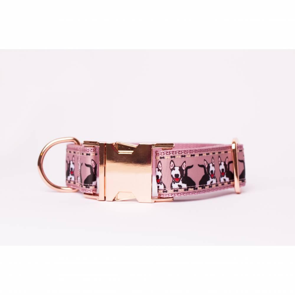 Wunderschönes Schmuckhalsband mit roségoldenen Verschlüssen *Bullterrier* 3cm breit Bild 1