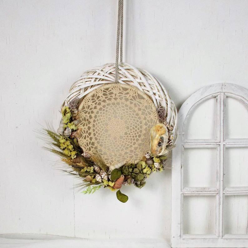 Türkranz mit Trockenblumen und Traumfänger, Boho Stil Bild 1