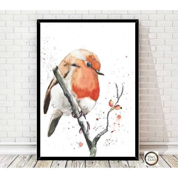 Rotkehlchen Aquarell Kunstdruck - Vogelposter - Bild - Handgemalt - Fineart - Druck Bild 1