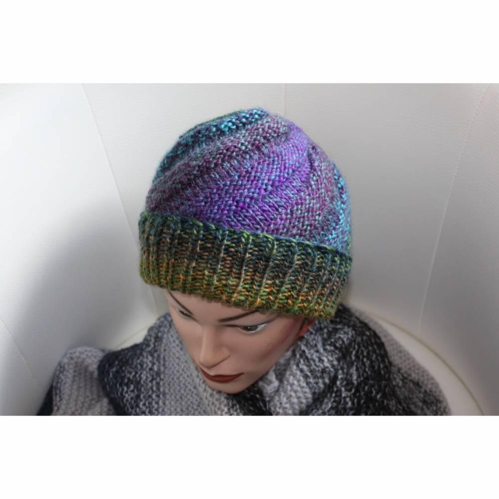 Damen-Mütze/Beanie *Spirale*, handgestrickt aus Wollmischgarn, KU ca. 54-57cm, bunt Bild 1