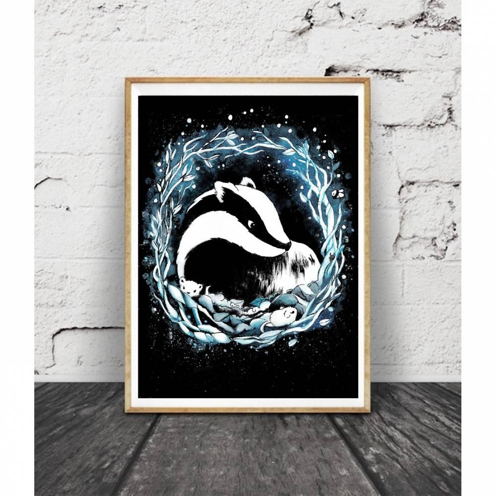 Dachs Aquarell Poster- Print- Kinderzimmer - Bild - Handgemalt - Dachsposter - Dachsbild Bild 1