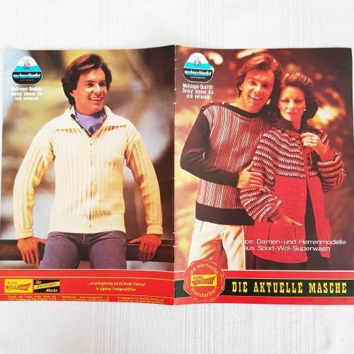 Vintage Strickanleitungen saloppe Damen- und Herrenmodelle, Pullover, Jacken,
