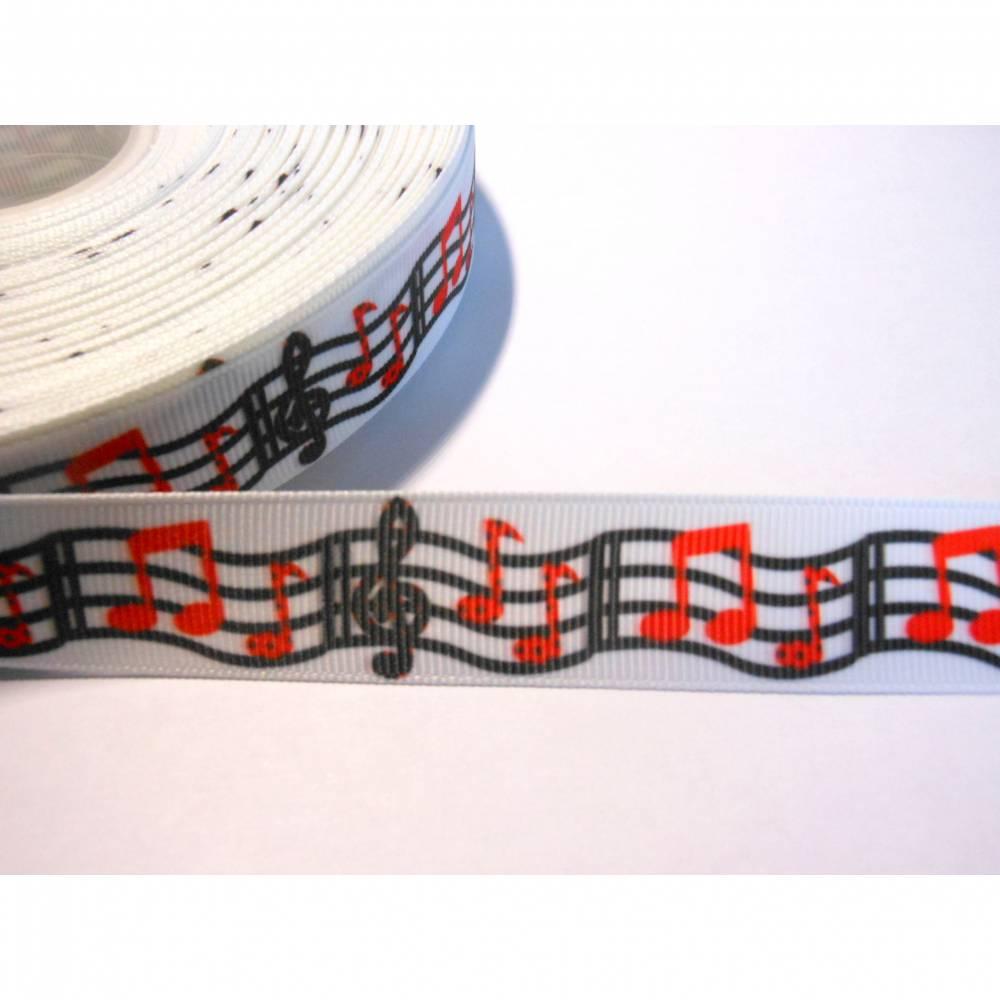 Noten, Musik, Chor, schwarz / rot / weiss,   22 mm  Borte Ripsband Bild 1