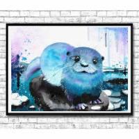 Otter Aquarell Print - Otterposter - Otterposter - Seeotter - Fischotter - Bild - Handgemalt - Fineart - Druck Bild 1